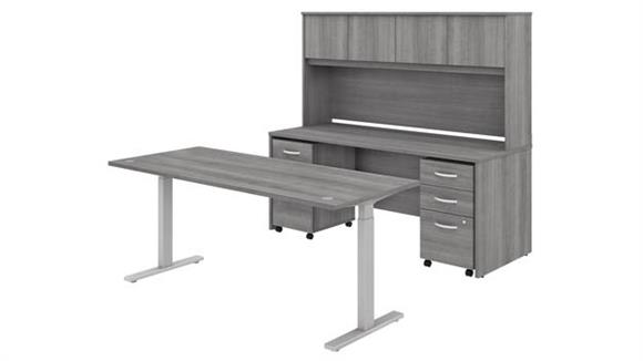 """Adjustable Height Desks & Tables Bush 72""""W x 30""""D Height Adjustable Standing Desk, Credenza with Hutch and 2 Assembled Mobile File Cabinets"""