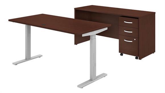 "Adjustable Height Desks & Tables Bush 60""W x 30""D Height Adjustable Standing Desk, Credenza and Mobile File Cabinet"