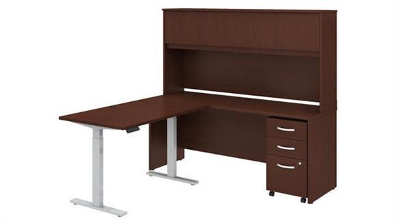 "Adjustable Height Desks & Tables Bush 72""W x 24""D L-Shaped Desk with Hutch, 48""W Height Adjustable Return and Mobile Pedestal"