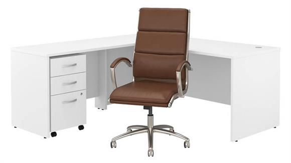 "L Shaped Desks Bush 72""W L Shaped Desk with Mobile File Cabinet and High Back Office Chair"