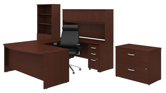"""U Shaped Desks Bush 72""""W x 36""""D U-Shaped Desk with Hutch, Bookcase, 2 File Cabinets and High Back Office Chair"""