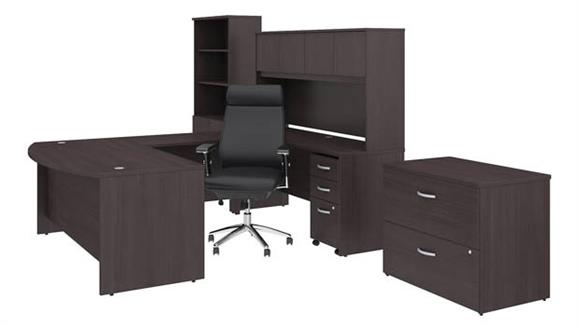 "U Shaped Desks Bush 72""W x 36""D U Shaped Desk with Hutch, Bookcase, File Cabinets and High Back Office Chair"