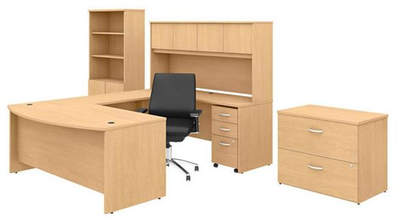 """U Shaped Desks Bush 72""""W x 36""""D U-Shaped Desk with Hutch, Bookcase, File Cabinets and Mid Back Office Chair"""