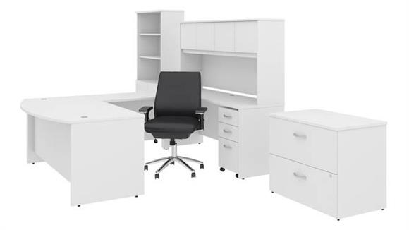 "U Shaped Desks Bush 72""W x 36""D U Shaped Desk with Hutch, Bookcase, File Cabinets and Mid Back Office Chair"
