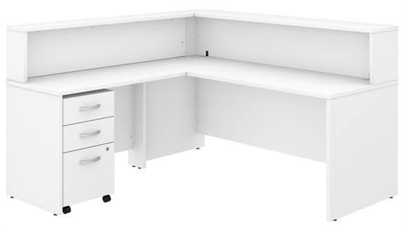 "Reception Desks Bush 72""W L-Shaped Reception Desk with Shelf and Mobile File Cabinet"