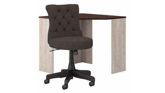 Corner Desks Bush Corner Desk and Mid Back Tufted Office Chair Set