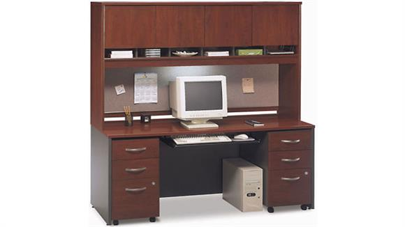 Office Credenzas Bush Double Pedestal Credenza with 4 Door Hutch