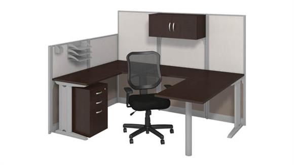 Workstations & Cubicles Bush U-Workstation with Storage and Chair