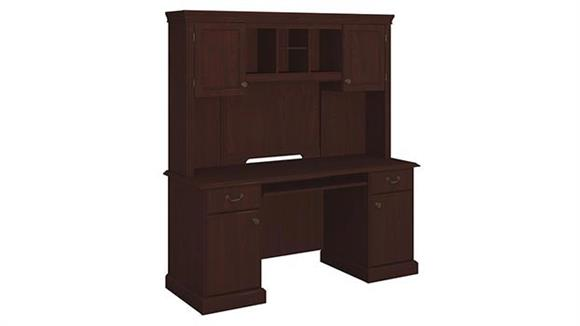 Office Credenzas Bush Double Pedestal Credenza with Hutch