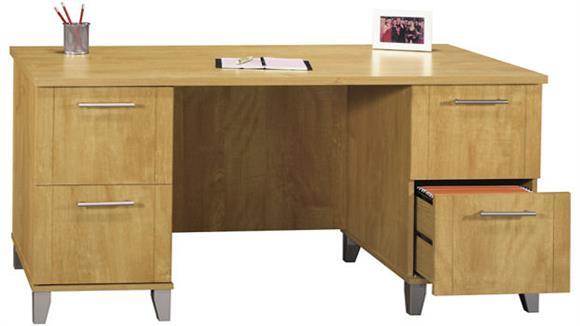 """Executive Desks Bush 60"""" Double Pedestal Desk"""
