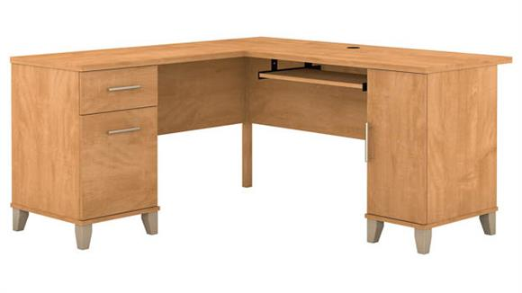 "L Shaped Desks Bush 60""W L-Shaped Desk with Storage"