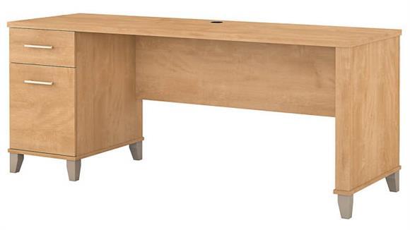 "Computer Desks Bush 72"" W Office Desk with Drawers"