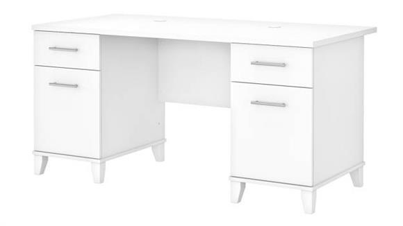 """Computer Desks Bush 60"""" W Double Pedestal Desk"""