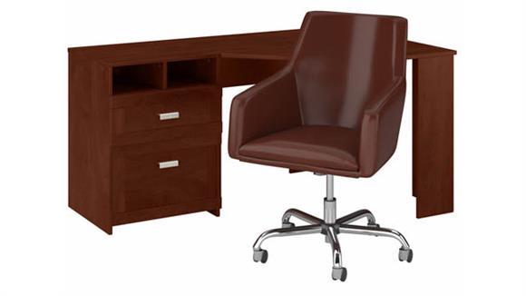 "Corner Desks Bush 60""W Reversible Corner Desk and Chair Set"