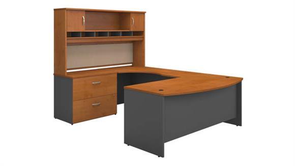 U Shaped Desks Bush Bow Front U Shaped Desk with Hutch