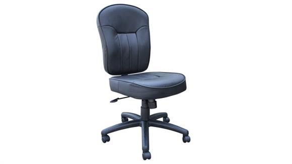 Office Chairs Boss Office  Chairs  Black Leather Armless Task Chair