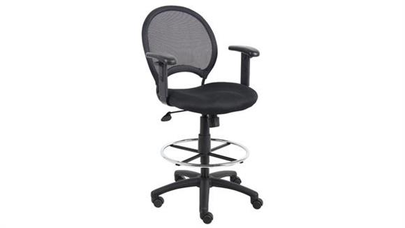 Drafting Stools Boss Office  Chairs  Mesh Drafting Stool with Adjustable Arms