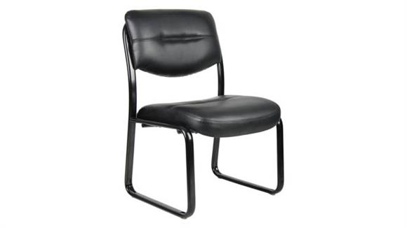 Side & Guest Chairs Boss Office  Chairs  Black Leather Armless Guest Chair