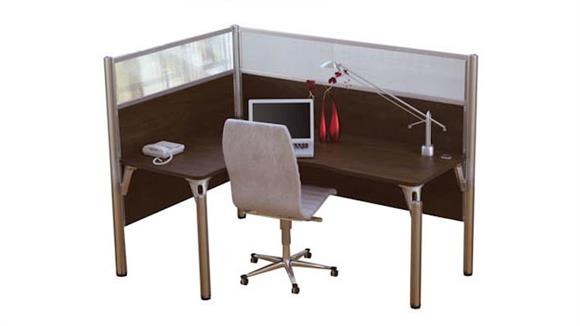 Workstations & Cubicles Bestar Single L Desk Workstation with Privacy Panels