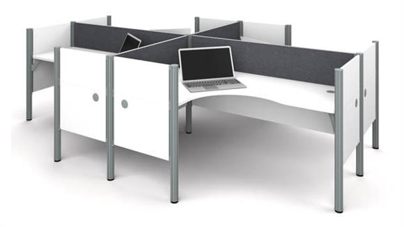 Workstations & Cubicles Bestar Four L-desk Workstation - White with Tack Boards