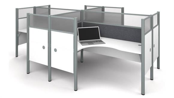 Workstations & Cubicles Bestar Four L-Desk Workstation - White with Tack Boards and Acrylic Glass Privacy Panels
