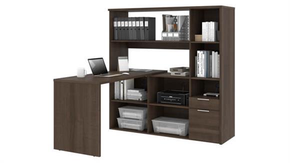 """L Shaped Desks Bestar 60""""W L-Shaped Desk with Hutch"""