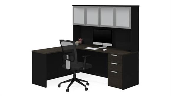 L Shaped Desks Bestar L-Shaped Desk with Frosted Glass Door Hutch
