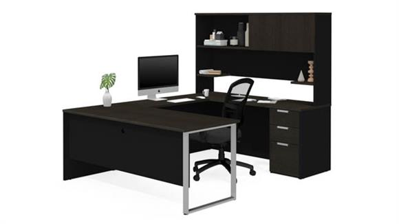 U Shaped Desks Bestar U-Shaped Desk with Hutch