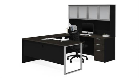 U Shaped Desks Bestar U-Sshaped Desk with Frosted Glass Door Hutch