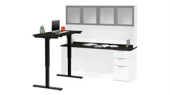 Adjustable Height Desks & Tables Bestar Height Adjustable L-Desk with Frosted Glass Door Hutch
