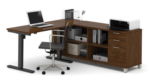 L Shaped Desks Bestar L-Desk with Electric Height Adjustable Table