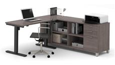 L Shaped Desks Bestar L-Desk with Electric Height Adjustable Table