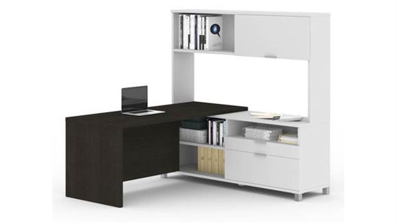 L Shaped Desks Bestar L-Desk with Hutch