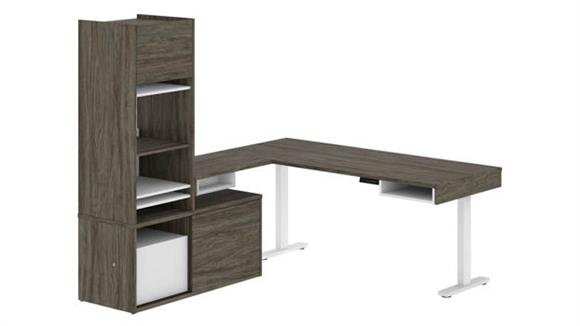 Adjustable Height Desks & Tables Bestar Height Adjustable L-Desk with Storage Tower
