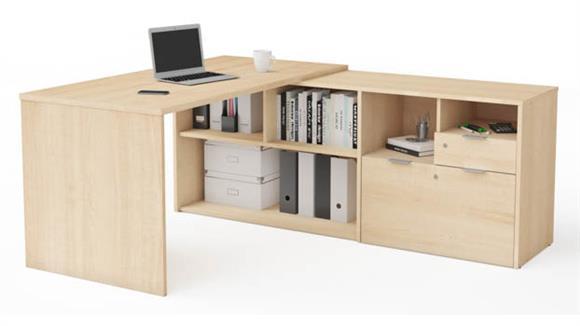 L Shaped Desks Bestar L-Desk with Two Drawers