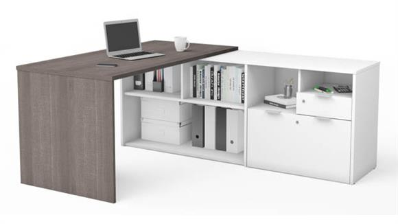 L Shaped Desks Bestar L-Desk with Two Drawers