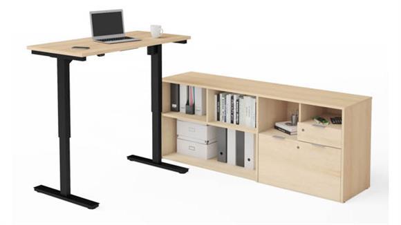 Adjustable Height Tables Bestar Height Adjustable L-Desk