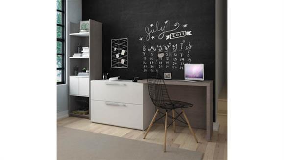 """Computer Desks Bestar 2-Piece Sliding Computer Desk and 20""""W Storage Tower Set"""