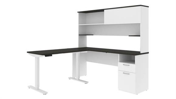 """Adjustable Height Desks & Tables Bestar 48""""W Standing Desk and 72""""W Credenza with Hutch"""