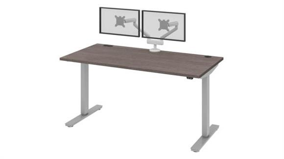 """Adjustable Height Desks & Tables Bestar 60""""W 30""""D Standing Desk with Dual Monitor Arm"""
