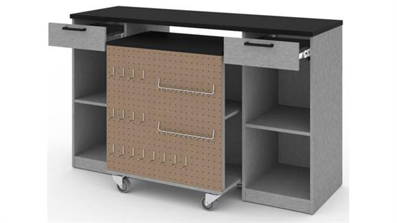 Storage Cabinets Bestar 2-Piece Workbench and Mobile Storage Unit