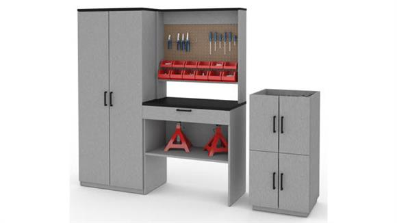 Benches Bestar 4-Piece Workbench, Armoire and 2 Stackable Cabinets