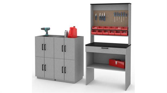 Benches Bestar 4-Piece Workbench and 4 Stackable Cabinets Set