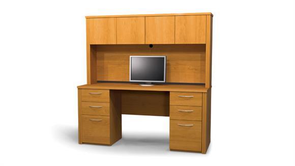 Office Credenzas Bestar Double Pedestal Credenza with Hutch 60851