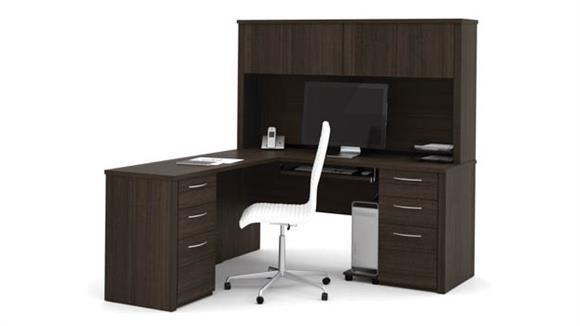 "L Shaped Desks Bestar 66"" L-Shaped Desk with Hutch"