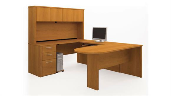 U Shaped Desks Bestar U Shaped Desk with Hutch 60856