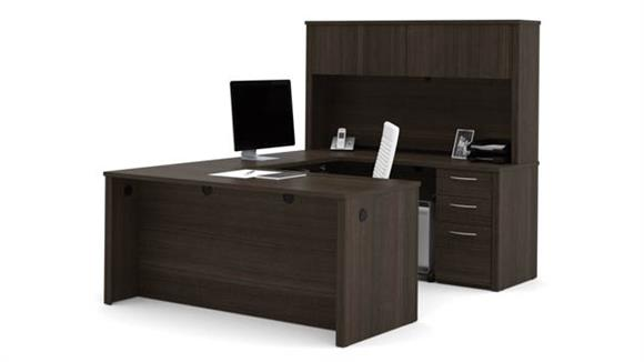 "U Shaped Desks Bestar 66"" U-Shaped Desk with Hutch"