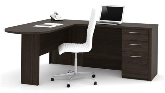 "L Shaped Desks Bestar 66"" L-Shaped Desk"