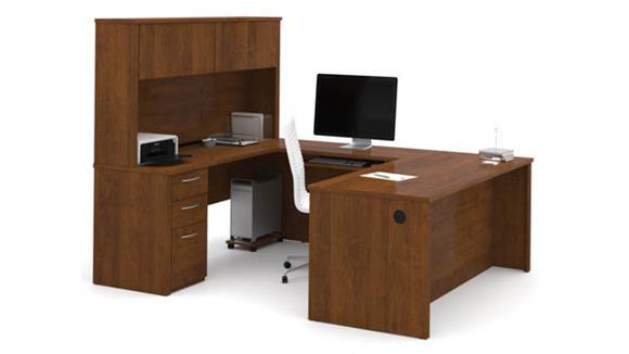 "U Shaped Desks Bestar 71"" U-Shaped Desk with Hutch"