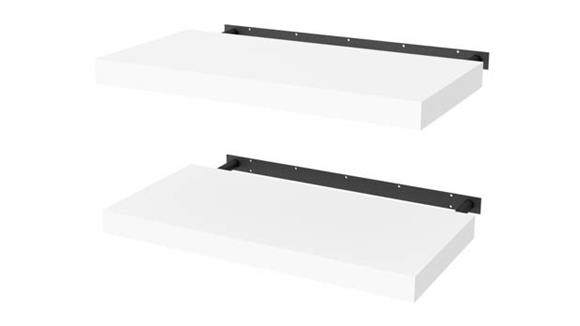 """Shelving Bestar 2 Piece 12"""" x 24"""" Lightweight Floating Shelf Set"""